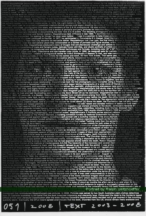 Robert Mapplethorpe, Ralph Ueltzhoeffer Textportrait